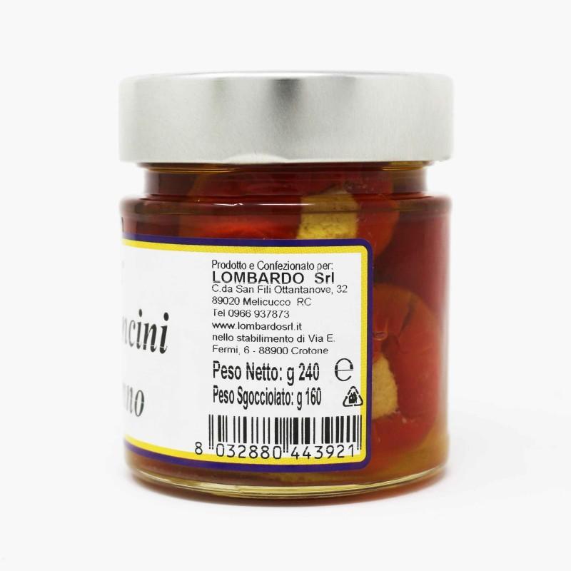 Peperoncini sottolio ripieni di tonno Vaso 212 ml Prodoti Tipici Calabresi Bottega Lombardo Srl