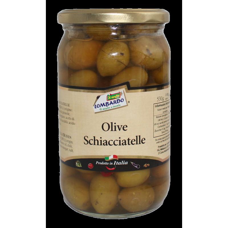 Olive verdi schiacciatelle (vaso) - prodotti tipici calabresi - bottega lombardo srl