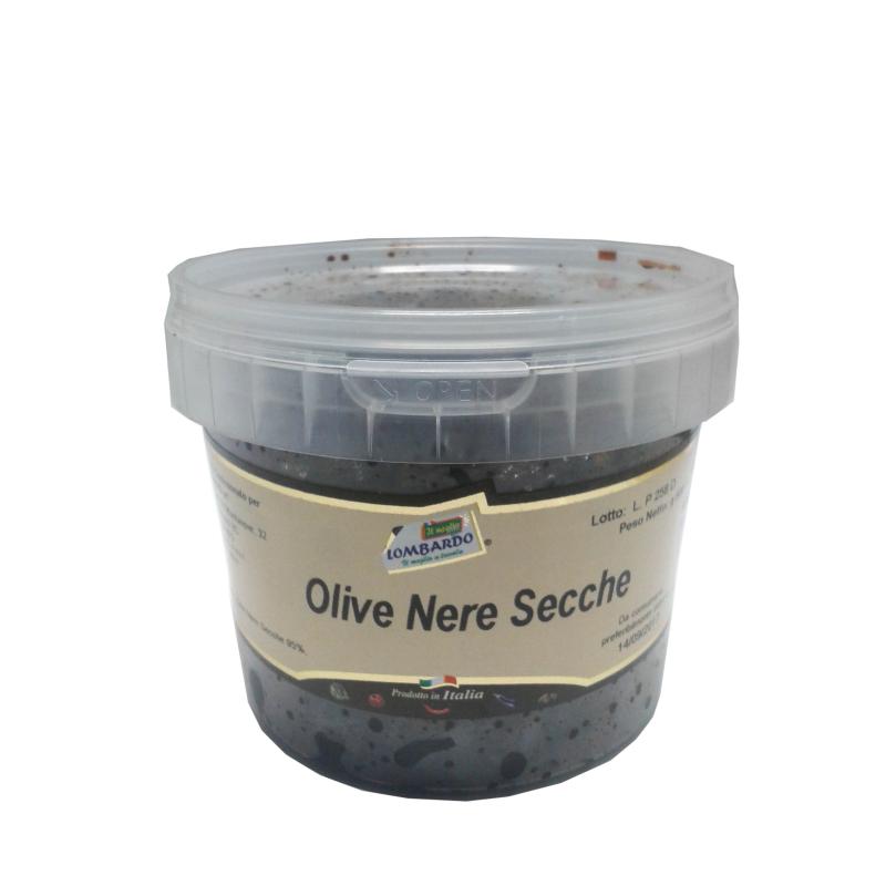 Olive nere secche secchiello 500 g - prodotti tipici calabresi - bottega lombardo srl