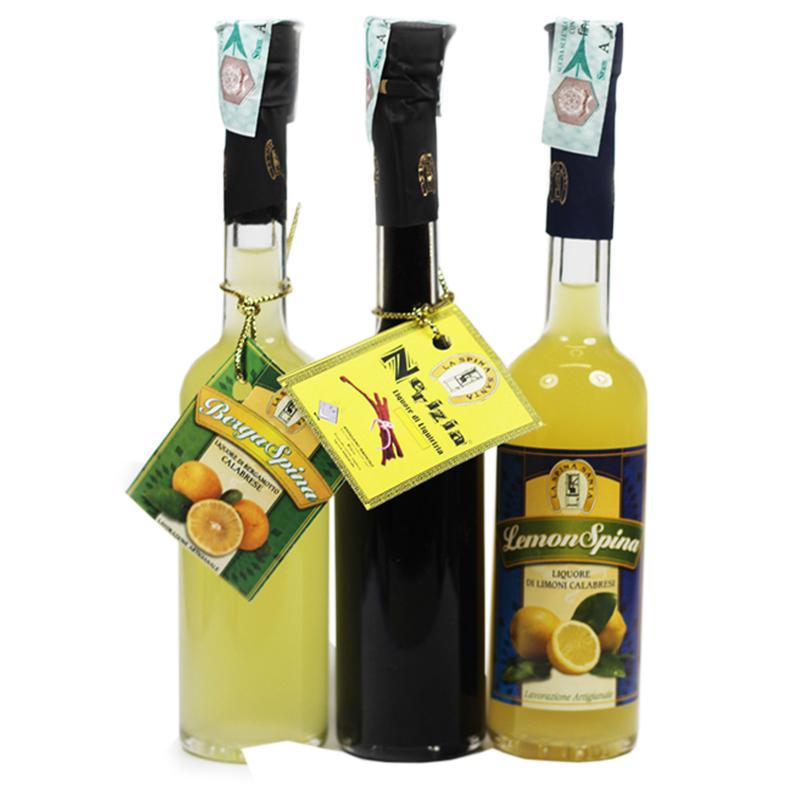 Tris pocket di liquori Calabresi La Spina Santa - prodotti tipici calabresi - bottega lombardo srl