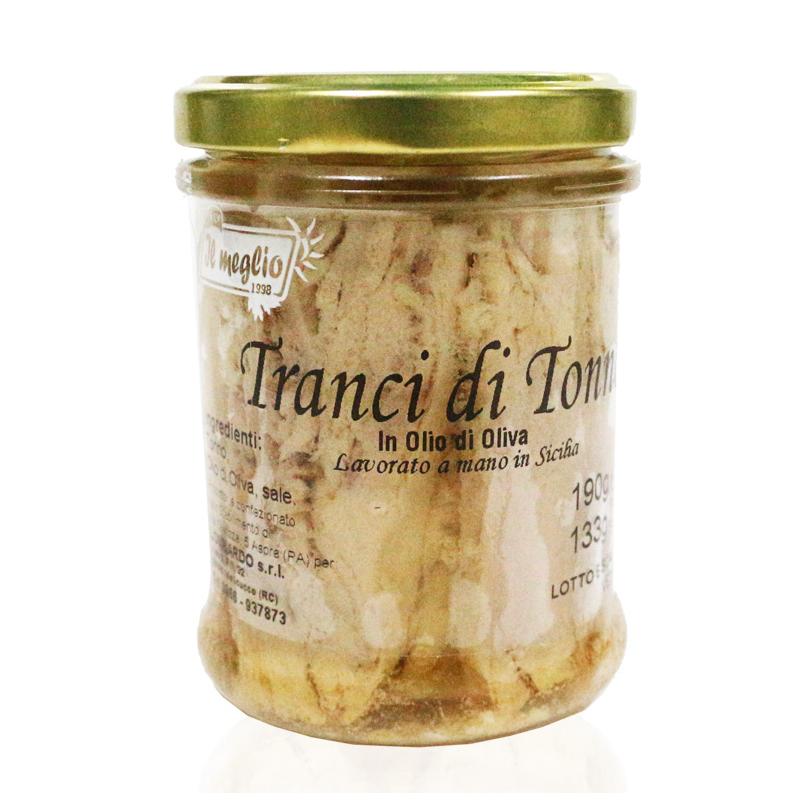 Tranci di Tonno in olio d'oliva in vetro gr. 190 Prodoti Tipici Calabresi Bottega Lombardo Srl