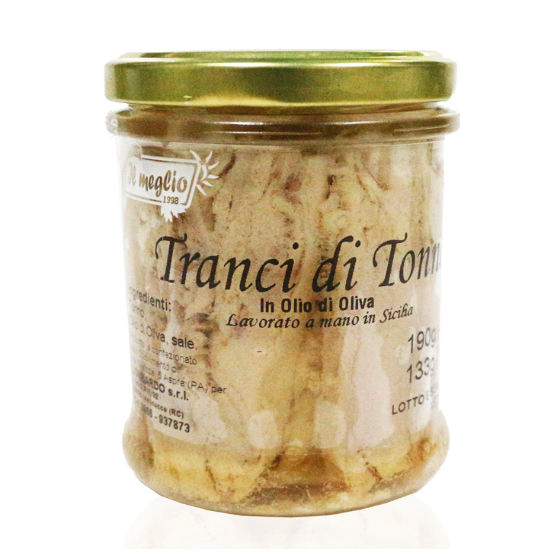 Tranci di Tonno in olio d'oliva in vetro gr. 190 - prodotti tipici calabresi - bottega lombardo srl