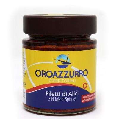 Filetti di Alici e nduja di Spilinga vaso 140 g Prodoti Tipici Calabresi Bottega Lombardo Srl