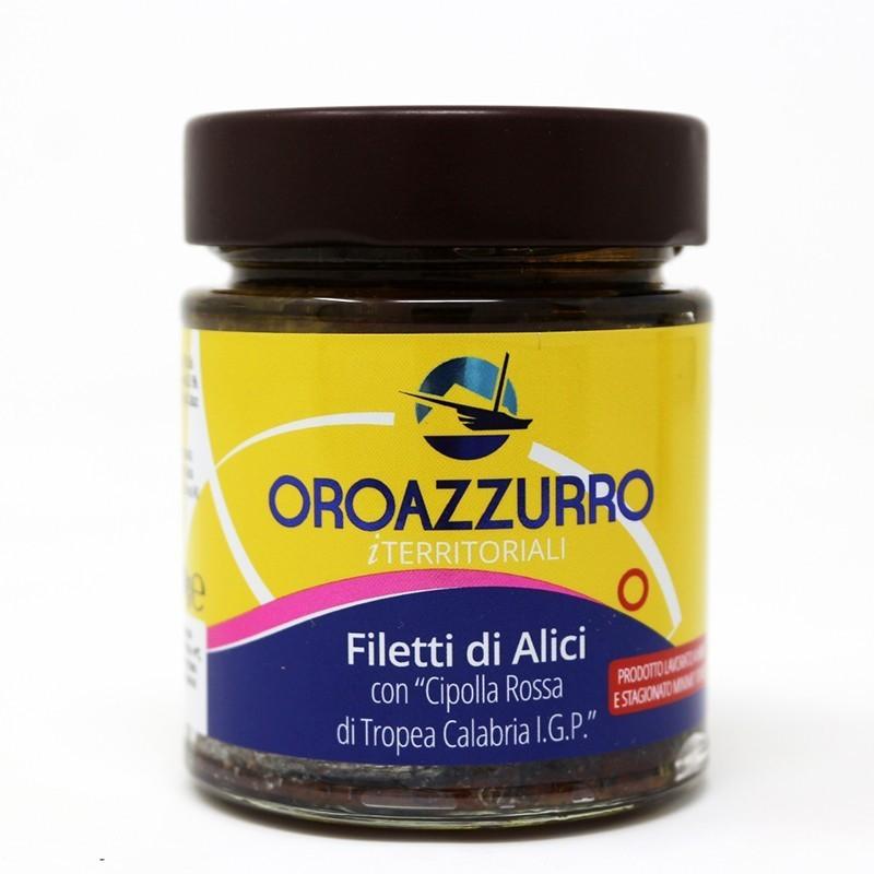 Filetti di Alici con Cipolla Rossa di Tropea Calabria I.G.P vaso 140 g Prodoti Tipici Calabresi Bottega Lombardo Srl