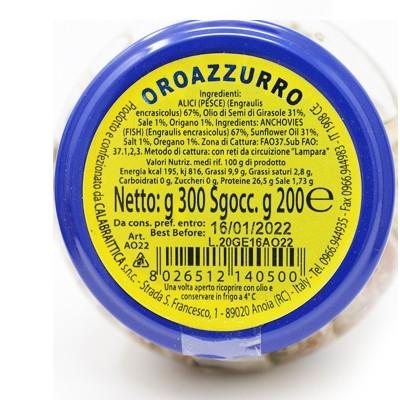 Alici in Vaso da 300 g all'origano Prodoti Tipici Calabresi Bottega Lombardo Srl