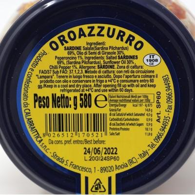 Sardine Piccanti in olio di semi di girasole vaso 580 g Prodoti Tipici Calabresi Bottega Lombardo Srl