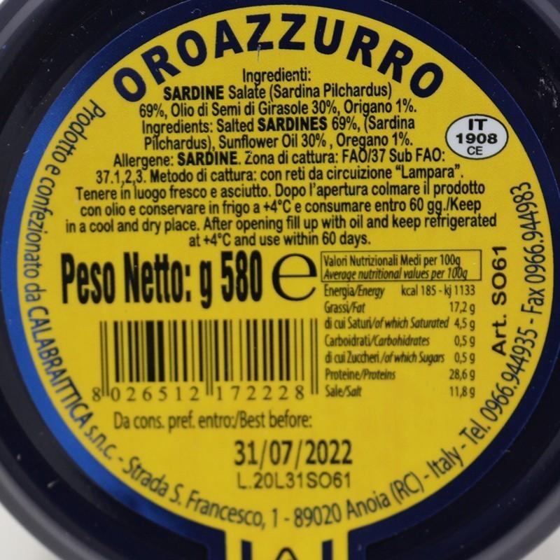 Sardine all'origano in olio di semi di girasole vaso 580 g Prodoti Tipici Calabresi Bottega Lombardo Srl